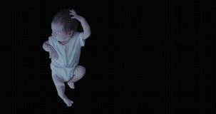 Balayage biométrique de Futursitic d'un bébé nouveau-né banque de vidéos