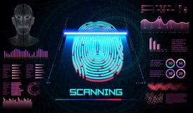 Balayage de doigt dans le style futuriste Identification biométrique avec HUD Interface futuriste Technologie de balayage d'empre illustration libre de droits