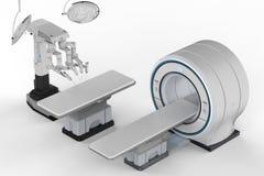 Balayage de Mri avec la chirurgie de robot image libre de droits