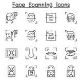 Balayage de visage, reconnaissance des visages et icône biométrique d'authentification réglés dans la ligne style mince illustration de vecteur