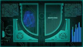 Balayage futuriste de Digital d'empreinte digitale banque de vidéos