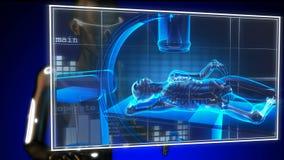 Balayage humain de radiographie sur l'hologramme illustration de vecteur