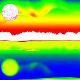 Balayage infrarouge fantastique du paysage rocheux, forêt de pin avec le brouillard coloré Photo libre de droits