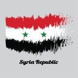 Balayez le drapeau de couleur de style du Syrien, tricolore horizontal d'A de blanc et noir rouges avec deux étoiles vertes au ce illustration de vecteur