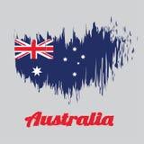Balayez le drapeau de couleur de style de l'Australie dans la couleur de rouge bleu et de blanc avec l'étoile blanche et de l'Uni illustration libre de droits