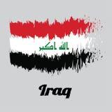 """Balayez le drapeau de couleur de style de l'Irak, un tricolore horizontal de blanc rouge et noir avec l'""""God est le plus grand  illustration de vecteur"""
