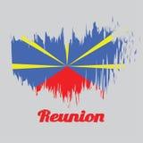 Balayez le drapeau de couleur de style de la réunion, de la couleur jaune et bleue rouge illustration libre de droits