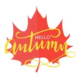 Balayez marquer avec des lettres la composition bonjour de l'automne illustration de vecteur