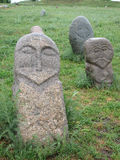Balbals或记忆石头在吉尔吉斯斯坦 图库摄影
