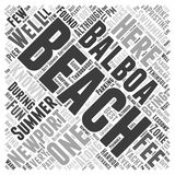Balboa Beach In Newport Beach 196 word cloud concept vector background. Text royalty free illustration