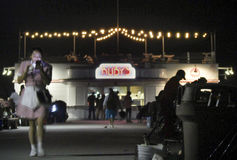 BALBOA, CA - Balboapijler en Robijnrode Diner van ` s stock afbeeldingen