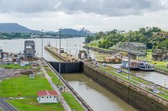 Balboa harbor from the Miraflores Locks of the Panama Canal. Balboa harbor with entrance or exit channel that leads to the Pacific Ocean Gulf of Panama as seen royalty free stock photos