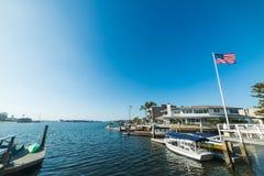 Balboa island harbor in Orange County. California Stock Images