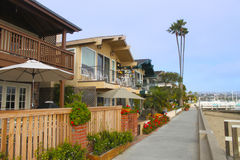 Balboa Island Neighborhood. Expensive homes on Balboa Island in Newport Beach, California on South Bayfront Stock Photo