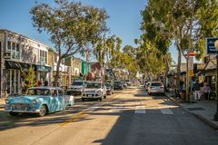 Balboa Island, Newport Beach, CA. Downtown Area of Balboa Island with plenty of vintage stores and restaurants stock photo