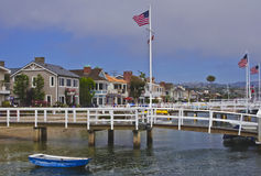 Balboa Island, Newport Beach California. Is one of three man-made islands in Newport Bay, south of Los Angeles in Orange County.  A scenic village with quaint Royalty Free Stock Images
