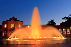 Balboa Park Fountain. This fountain image was captured in Balboa Park, San Diego just after sunset royalty free stock photos