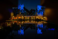 Balboa park in morning. The House of Hospitality and Casa de Balboa seen in the early morning light through pillars Royalty Free Stock Images