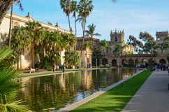 Balboa Park, San Diego, California. Architecture example with reflecting pond in Balboa Park, San Diego, California stock photography