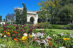 Balboa Park with flowers. Balboa Park with spring flowers, San Diego, California stock images