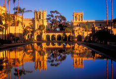 Balboa Park Towers. (Casa de Balboa, Colonnade and House of Hospitality) with a reflecting pool at Balboa Park, San Diego, California. Taken at sunset with a stock photo