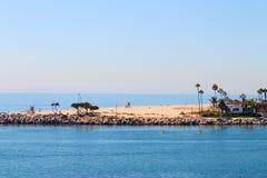 Balboa Peninsula. A view of world famous Wedge at Balboa Peninsula, California from Corona del Mar Stock Images