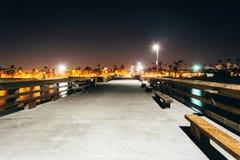 The Balboa Pier at night  Stock Image