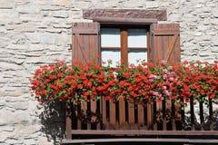 Balcão com flores Imagens de Stock