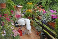 Balcão com flores foto de stock royalty free