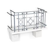 Balcão com uma cerca do metal em um fundo branco 3d rendem o imag Imagem de Stock Royalty Free