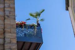 Balcão de aço com flores e palma imagem de stock royalty free