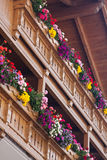 Balcão de madeira com flores Foto de Stock