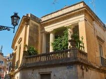 Balcão de um palácio barroco em Lecce, Puglia Imagem de Stock Royalty Free