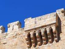 Balcão do castelo de Kolossi, Chipre fotografia de stock royalty free