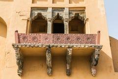 Balcão no forte Abmer A residência fortificada de Raja Man Singha fotografia de stock royalty free