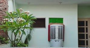 Balcão que tem um refrigerador e plantas ou árvores em torno dele imagens de stock