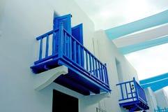 Balcón azul Imágenes de archivo libres de regalías