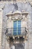 Balcón barroco en Catania Sicilia Imágenes de archivo libres de regalías