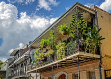 Balcón con las plantas y los cielos nublados en el barrio francés Imagenes de archivo