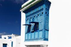 Balcón de encaje azul Foto de archivo