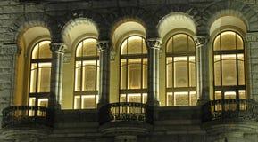 Balcón de la noche Foto de archivo libre de regalías