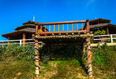 Balcón de madera Foto de archivo