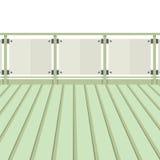 Balcón de madera con el piso de madera ilustración del vector