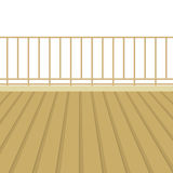 Balcón de madera con el piso de madera libre illustration
