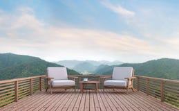Balcón de madera con imagen de la representación del Mountain View 3d Imagen de archivo