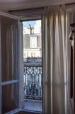 Balcón de París en el cuarto latino Imagen de archivo