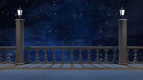 Balcón del vintage con vista del cielo nocturno hermoso ilustración del vector