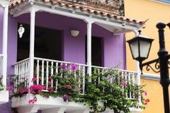 Balcón en Cartagena de Indias Imagen de archivo