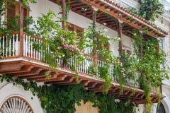 Balcón en Cartagena de Indias Fotos de archivo