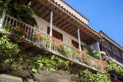 Balcón en Cartagena de Indias Imágenes de archivo libres de regalías